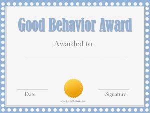 membership certificate template good behavior award