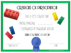 membership certificate template lego party certificates