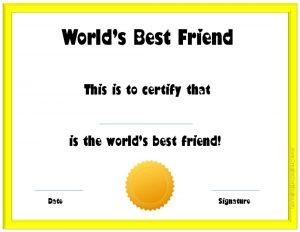 membership certificate template worlds best friend