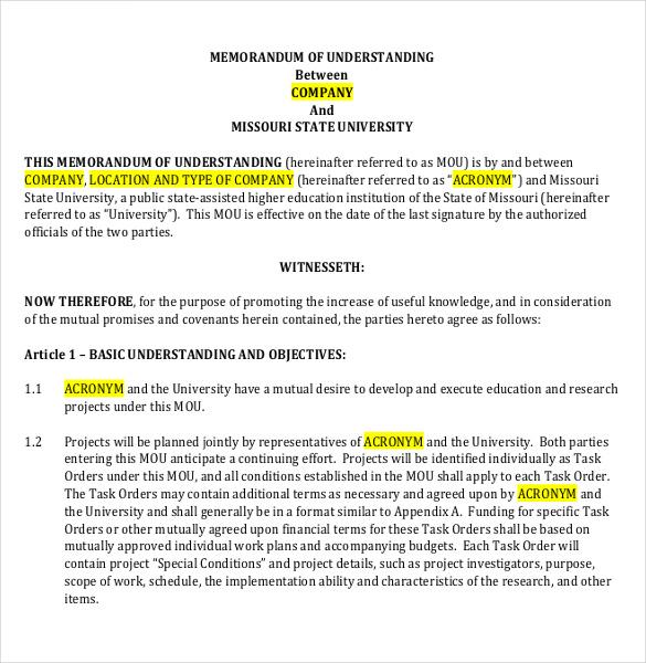memo of understanding examples
