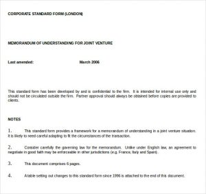 memo of understanding examples ms word document for memorandum of understanding joint venture