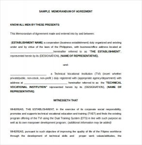memorandum of understanding sample memorandum of agreement form