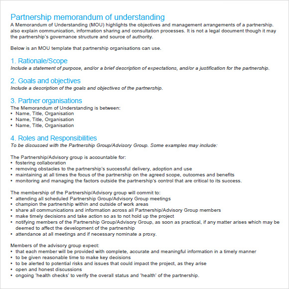 memorandum of understanding sample