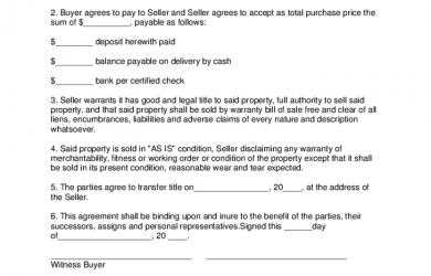 memorandum of understanding sample personal property purchase agreement template