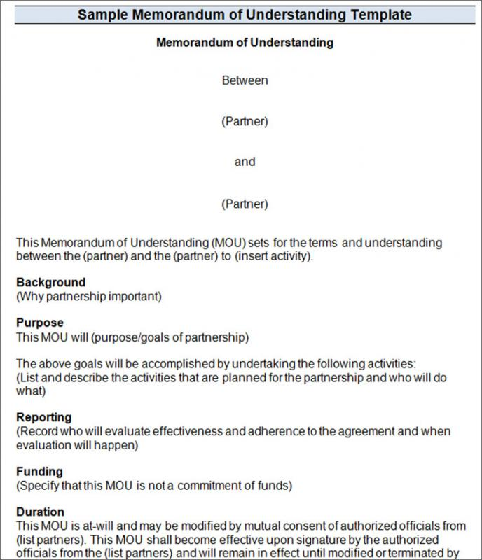 memorandum of understanding template word