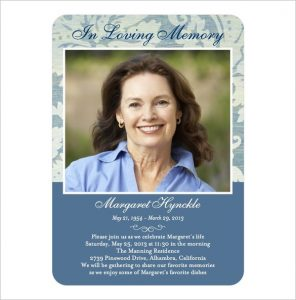 memorial card template blue colour memorial card template