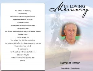 memorial card template funeral program template front
