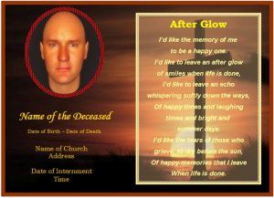 memorial card template funeralchristianmemorialcard cross