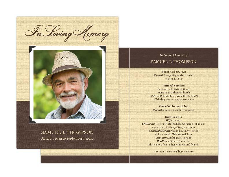 Memorial Card Template Template Business