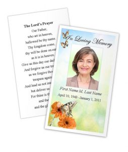 memorial cards for funeral template free prayer card butterfly