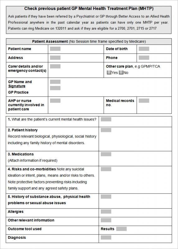 Mental Health Treatment Plan Template Obtain