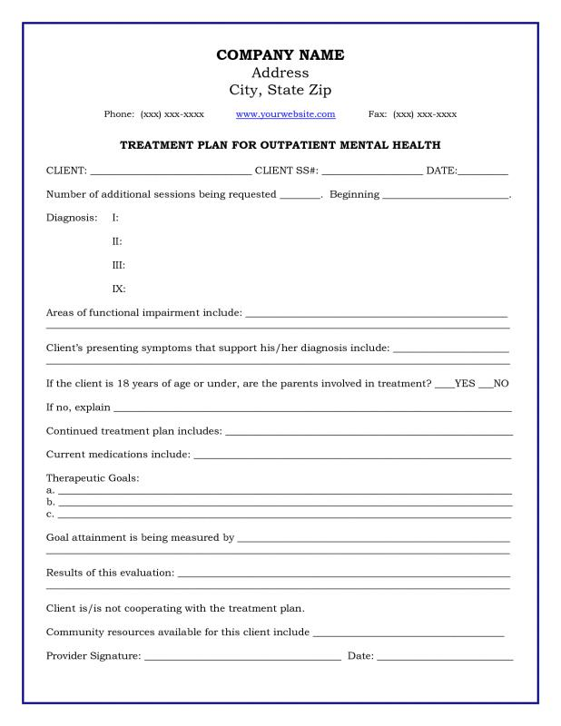 video treatment template - mental health treatment plan template download template