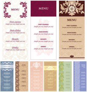 menu design templates menu templates with flowers vector