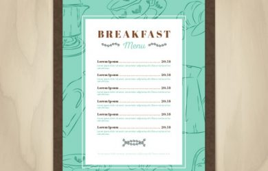 menu template free download breakfast menu template