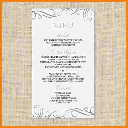 free wedding menu templates - menu template free download template business