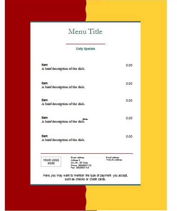 Menu template word template business for Drink menu template microsoft word