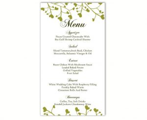 menu template word wedding menu template diy menu card template editable text word file instant download green menu heart menu template printable menu xinch