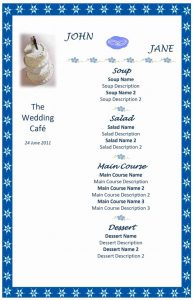 menu template word wedding menu template sd x