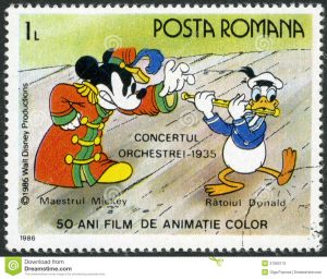 mickey mouse thank you cards romania shows mickey donald walt disney characters band concert fifty years color animated films circa stamp