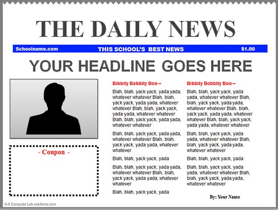 Microsoft Word Newspaper Template Template Business