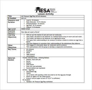 middle school lesson plan template mesa middle school lesson plan free pdf download