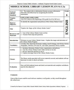 middle school lesson plan template middle school lesson plan