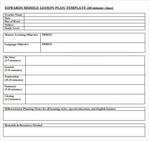middle school lesson plan template middle school lesson plan sample