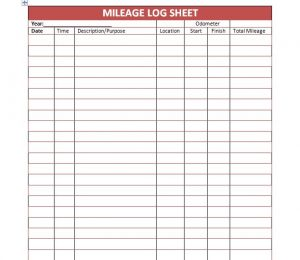 mileage log template mileage log