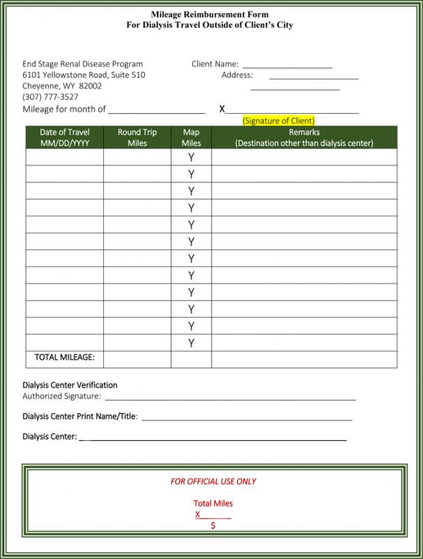 mileage reimbursement form