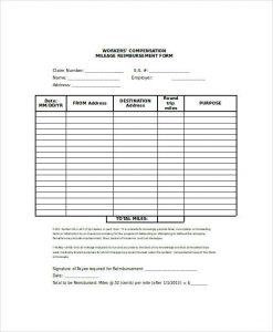 mileage reimbursement form mileage reimbursement claim form