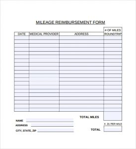 mileage reimbursement template mileage reimbursement form