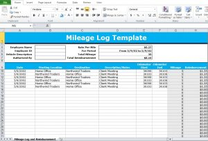 mileage excel template