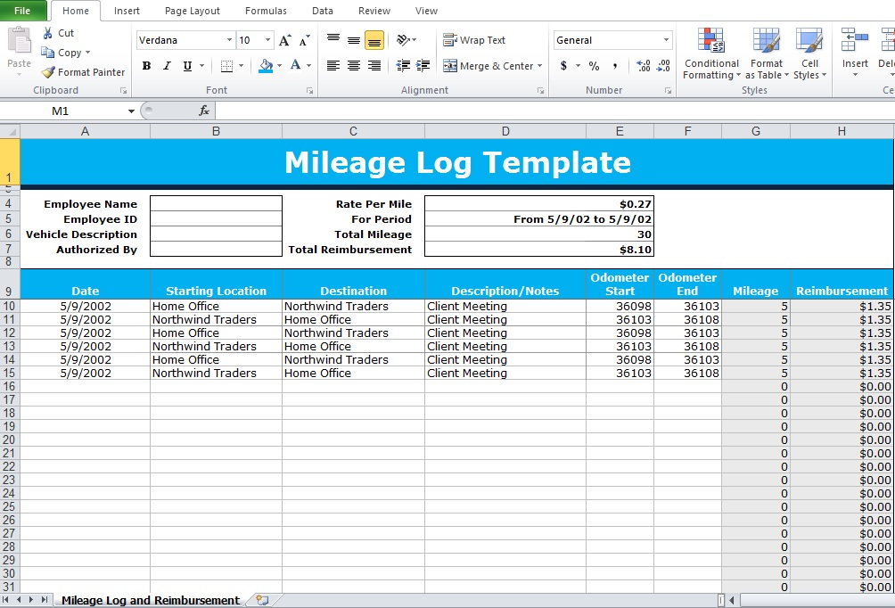 mileage tracker form