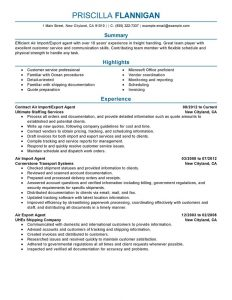military resume template air import export agent government military professional