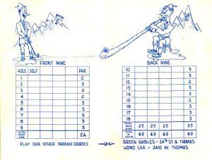 mini golf scorecard alpine inside