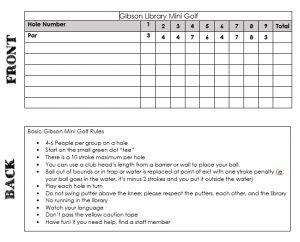 mini golf scorecard mini golf score card rules