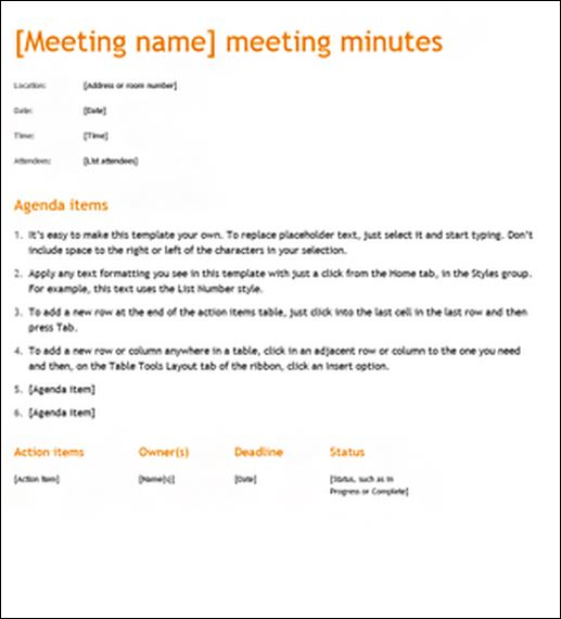 Minutes Of Meeting  Template Business