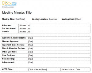 minutes of meeting standard format of meeting minutes template
