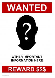 missing poster template wanted poster