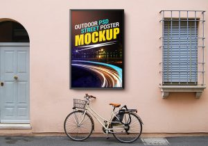 mobile app mockup outdoor street poster mockup template