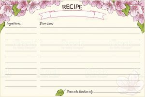 model comp card template old fashioned recipe card template floral vector id