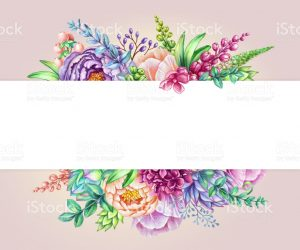 model comp card template watercolor illustration floral background wild flowers bouquet illustration id