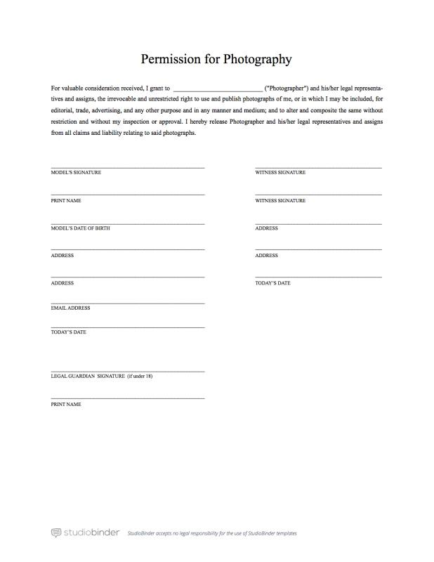 Model Release Form  Template Business