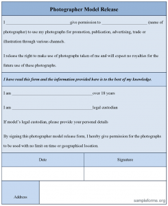 model release form template photographermodelreleaseform