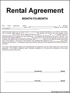 month to month lease agreement agreement templates efficient sample of month to month rental agreement template with blank information fill also landlord and tenant signatures
