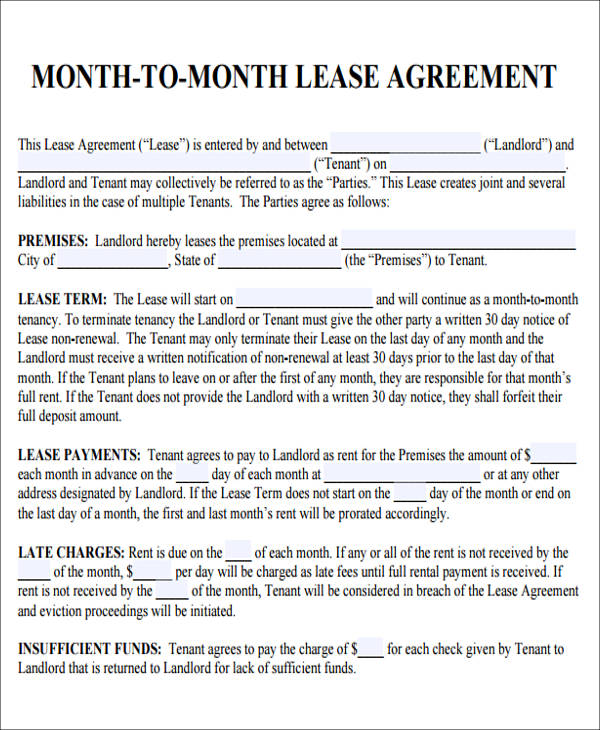 Month To Month Lease Agreement  Template Business
