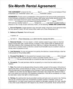 month to month lease agreement six month rental lease agreement