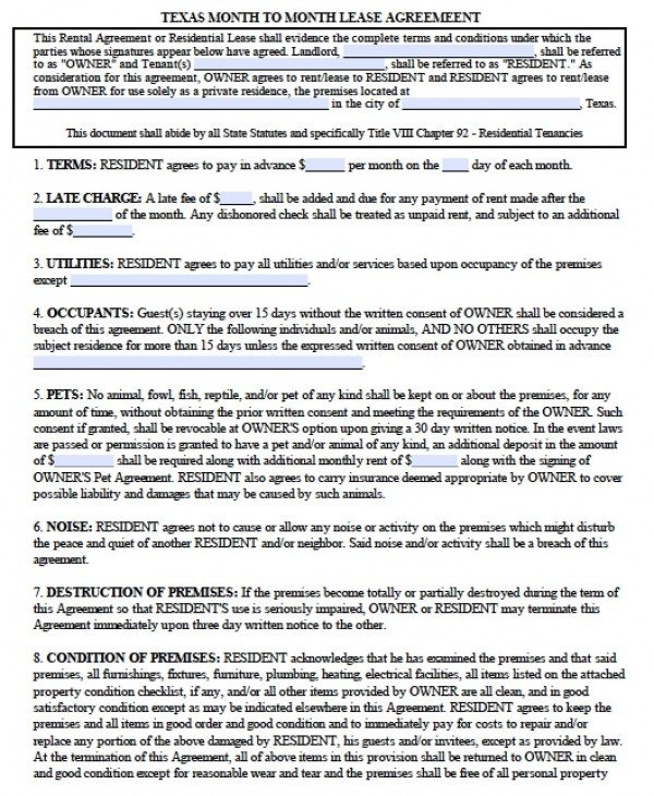 Month To Month Rental Agreement  Template Business