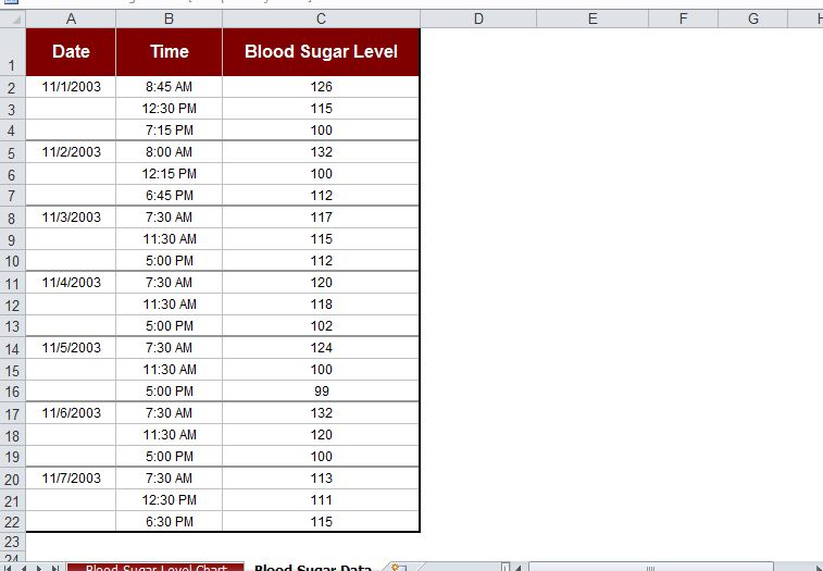 monthly blood sugar log