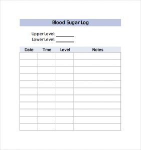 monthly blood sugar log sample blood sugar log